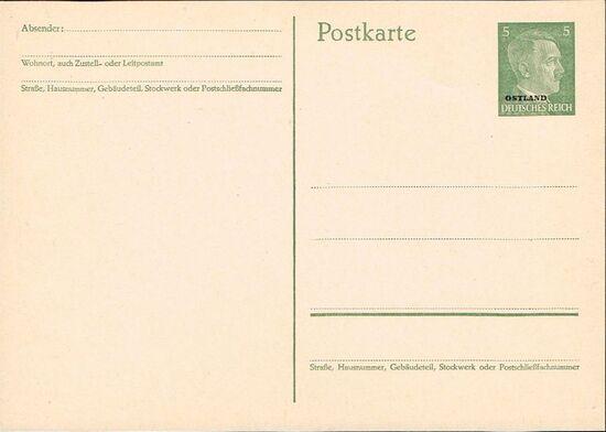 German Occupation-Russia Ostland 1941 Stamps of German Reich Overprinted in Black psa