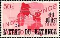 Katanga 1960 Postage Stamps from Congo Overprinted b