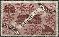 French Somali Coast 1943 Locomotive and Palms f