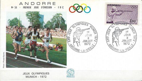 Andorra-French 1972 20th Olympic Games, Munich FDCd