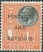 Malta 1928 George V and Coat of Arms Ovpt POSTAGE AND REVENUE j