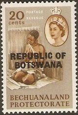 Botswana 1966 Overprint REPUBLIC OF BOTSWANA on Bechuanaland 1961 i