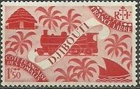 French Somali Coast 1943 Locomotive and Palms h