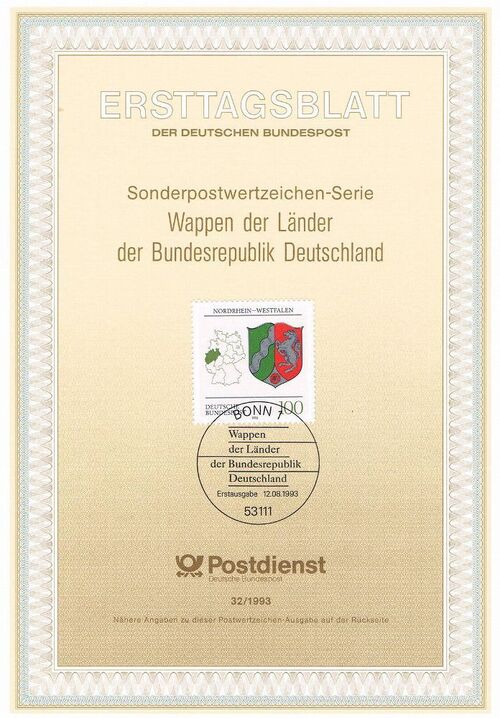 Germany, Federal Republic 1993 Coat of Arms of the Federal States of Germany (2nd Group) IOP-ETBd