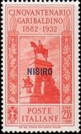 Italy (Aegean Islands)-Nisiro 1932 50th Anniversary of the Death of Giuseppe Garibaldi i