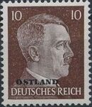 German Occupation-Russia Ostland 1943 Stamps of German Reich Overprinted in Black a