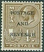 Malta 1928 George V and Coat of Arms Ovpt POSTAGE AND REVENUE a