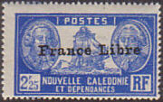 "New Caledonia 1941 Definitives of 1928 Overprinted in black ""France Libre"" zd"