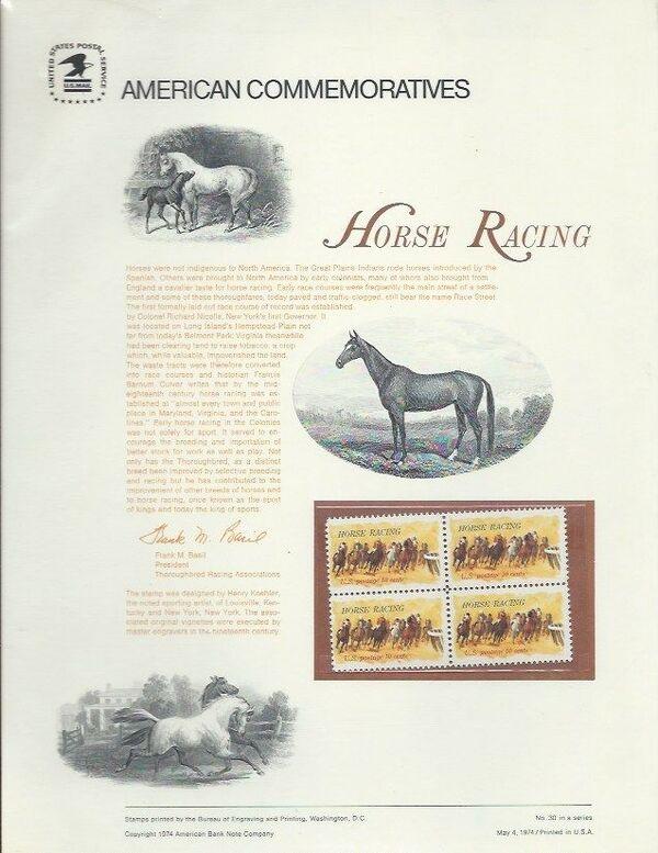 United States of America 1974 Horse Racing ACa