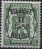 Belgium 1938 Coat of Arms - Precancel (2nd Group) e