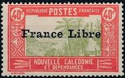 "New Caledonia 1941 Definitives of 1928 Overprinted in black ""France Libre"" l"