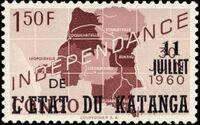 Katanga 1960 Postage Stamps from Congo Overprinted d