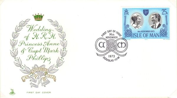 Isle of Man 1973 Wedding of Princess Anne and Capt. Mark Phillips n