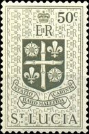 St Lucia 1953 Queen Elizabeth II and Arms of St Lucia k