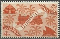 French Somali Coast 1943 Locomotive and Palms k
