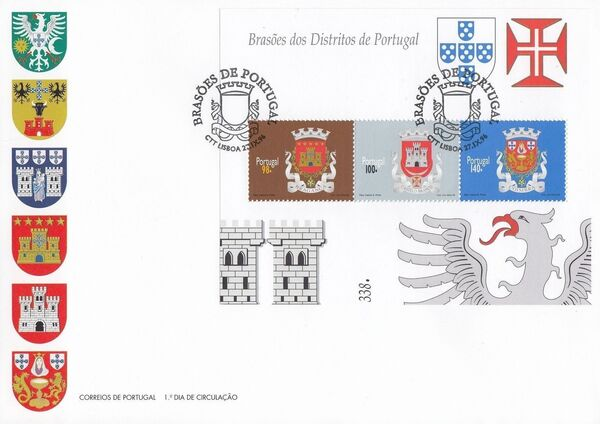 Portugal 1996 Arms of the Districts of Portugal (1st Group) FDCc