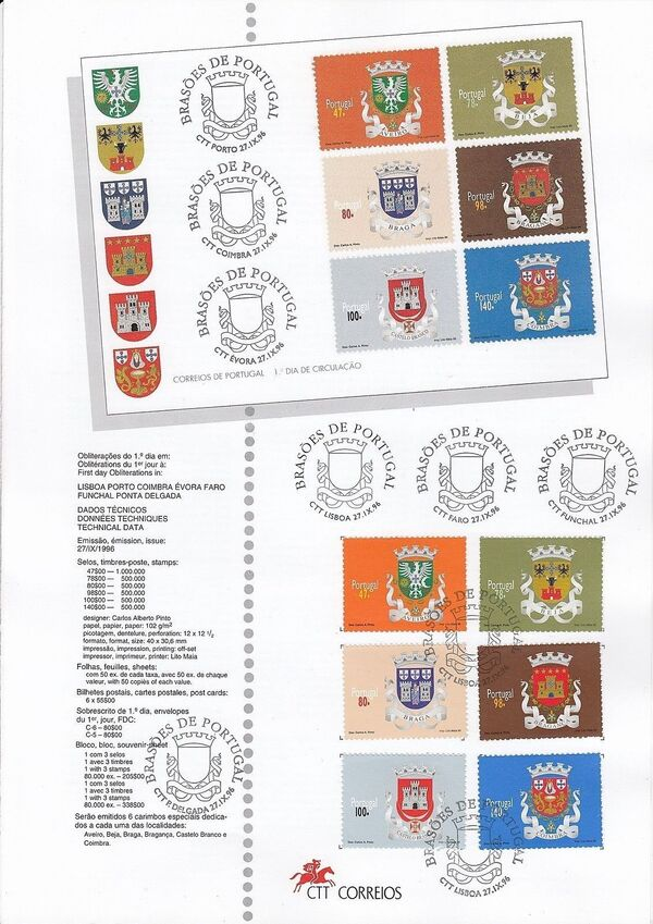 Portugal 1996 Arms of the Districts of Portugal (1st Group) IOPa