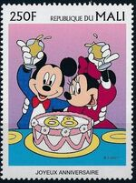 Mali 1997 Greetings Stamps - Walt Disney Characters f