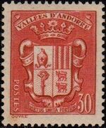 Andorra-French 1938 Coat of arms of Andorra a
