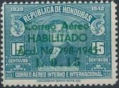 Honduras 1945 Air Post Stamps of 1937-1939 Surcharged e