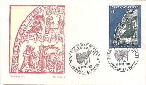 Andorra-French 1972 Altarpiece of Saint Jean de Caselles FDCf