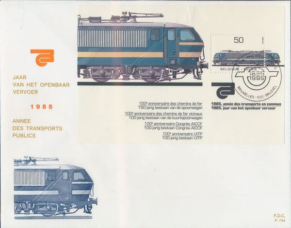 Belgium 1985 Public Transportation Year FDCa