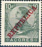 Azores 1911 D. Manuel II Overprinted REPUBLICA c