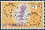 St Vincent 1979 Cancellations and Location of Village m