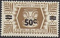 Wallis and Futuna 1946 Ivi Poo Bone Carving in Tiki Design Surcharged a