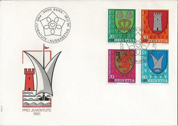 Switzerland 1981 PRO JUVENTUTE - Municipal Coat of Arms FDCa