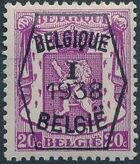 Belgium 1938 Coat of Arms - Precancel (1st Group) b