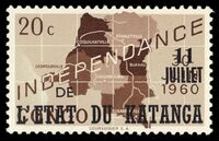Katanga 1960 Postage Stamps from Congo Overprinted a