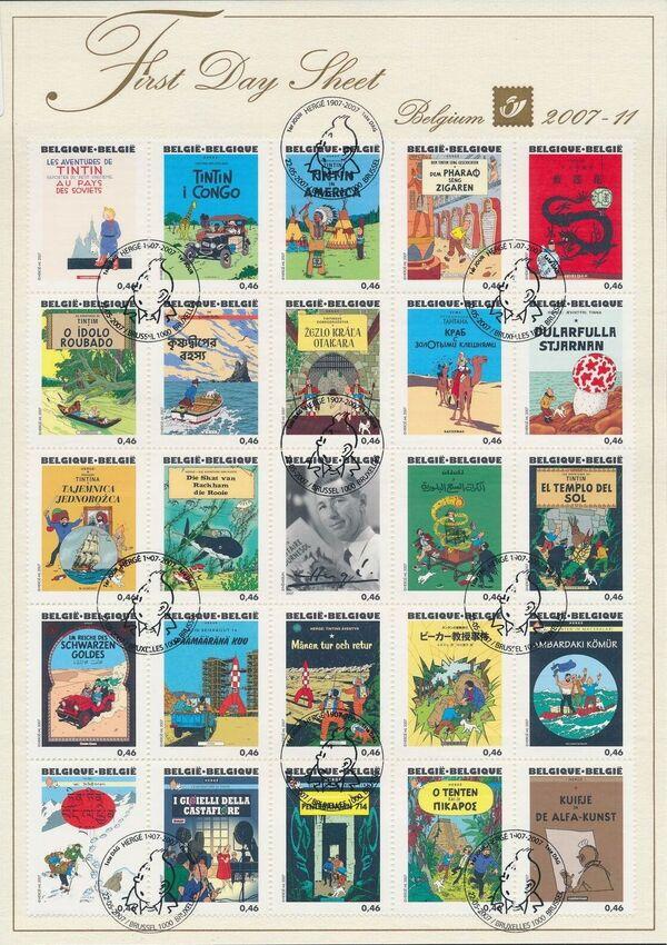 Belgium 2007 Tintin book covers translated FDSa