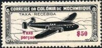 """Mozambique 1947 Airplane over Mountainous Region with """"Taxe Perçue"""" a"""