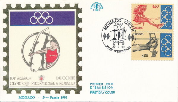 Monaco 1993 101st Session International Olympic Committee FDCg