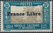 "New Caledonia 1941 Definitives of 1928 Overprinted in black ""France Libre"" s"