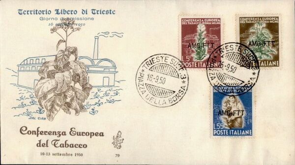 Trieste-Zone A 1950 European Tobacco Conference FDCb