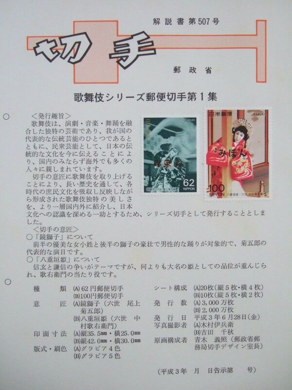 Japan 1991 Kabuki Theatre (1st Issues) FOLb