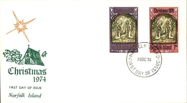 Norfolk Island 1974 Christmas FDCa