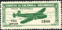 "Mozambique 1947 Airplane over Mountainous Region with ""Taxe Perçue"" c"