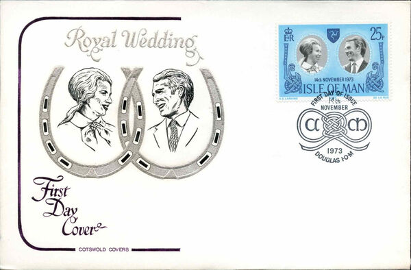Isle of Man 1973 Wedding of Princess Anne and Capt. Mark Phillips k