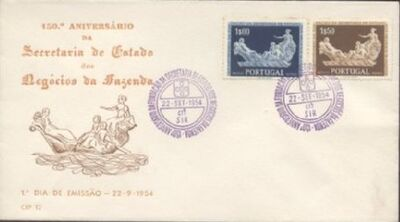 Portugal 1954 150th Anniversary of the Founding of the State Secretariat for Financial Affairs FDCa