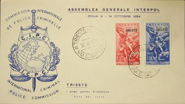 Trieste-Zone A 1954 23rd General Assembly of the International Criminal Police FDCa