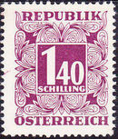 Austria 1951 Postage Due Stamps - Square frame with digit (3rd Group) c