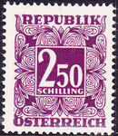 Austria 1951 Postage Due Stamps - Square frame with digit (3rd Group) d