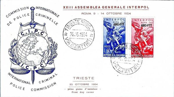 Trieste-Zone A 1954 23rd General Assembly of the International Criminal Police FDCb