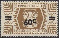 Wallis and Futuna 1946 Ivi Poo Bone Carving in Tiki Design Surcharged b
