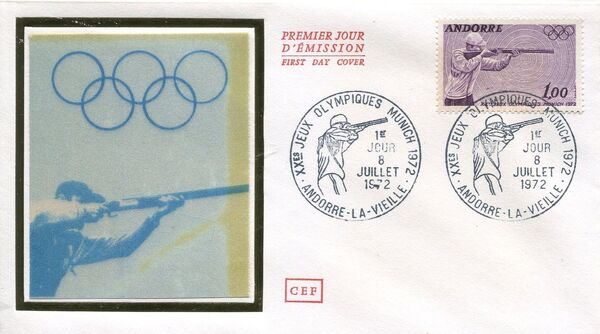 Andorra-French 1972 20th Olympic Games, Munich FDCb