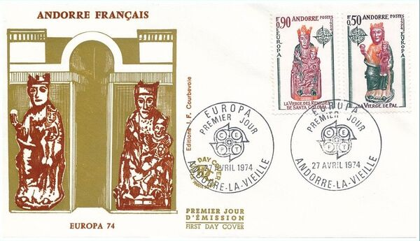 Andorra-French 1974 - Europa - Sculptures FDCc
