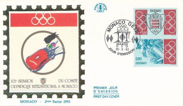 Monaco 1993 101st Session International Olympic Committee FDCa